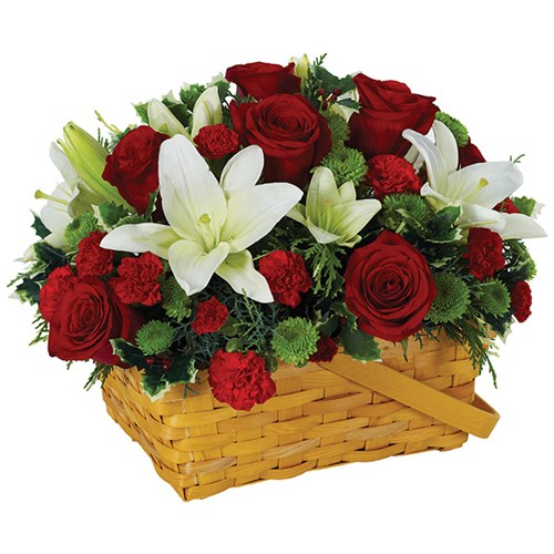 Holiday greetings basket of flowers for holiday gifts